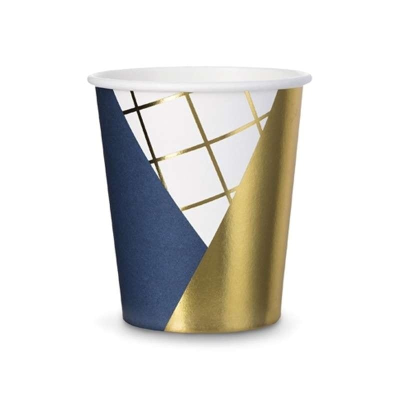 Bicchieri blu navy e oro in cartoncino 260 ml 6 pz - kpp18