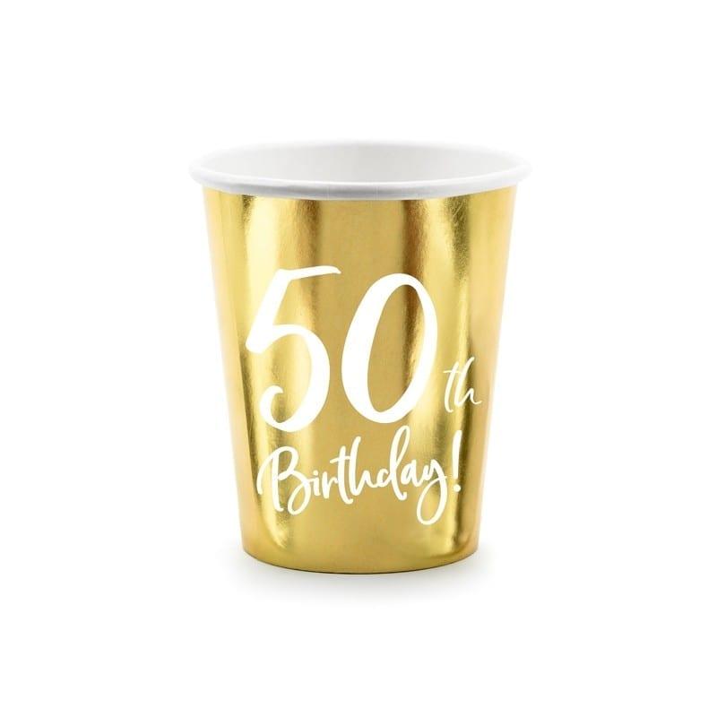 Bicchieri In Carta 50 Anni Oro 220 Ml 6 Pz – Kpp73-50-019m