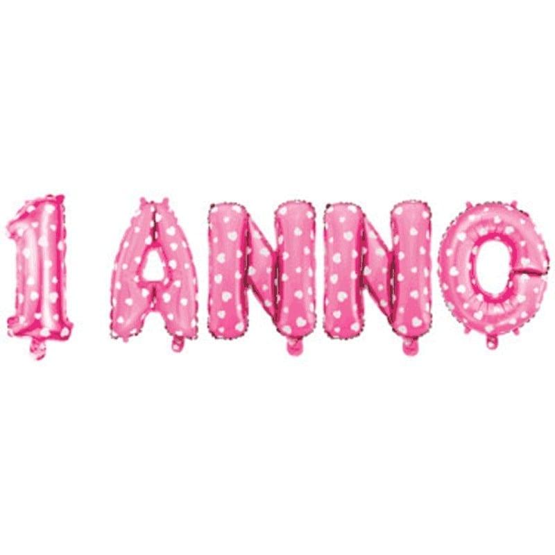 Composizione Foil 1 ANNO Mylar Rosa Pois Bianchi