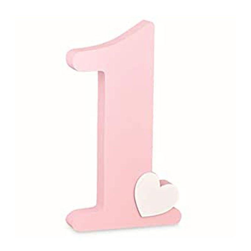 Decorazione Numero Uno In Legno Rosa Compleanno 16,5 X 3,5 X H 30 Cm – 28798