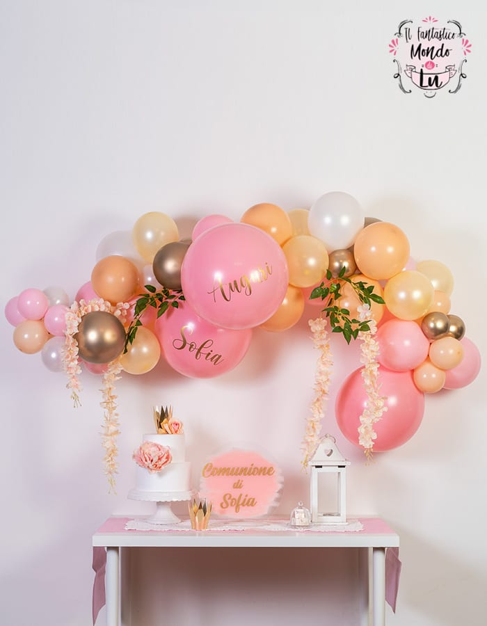 Ghirlanda di palloncini da te rosa