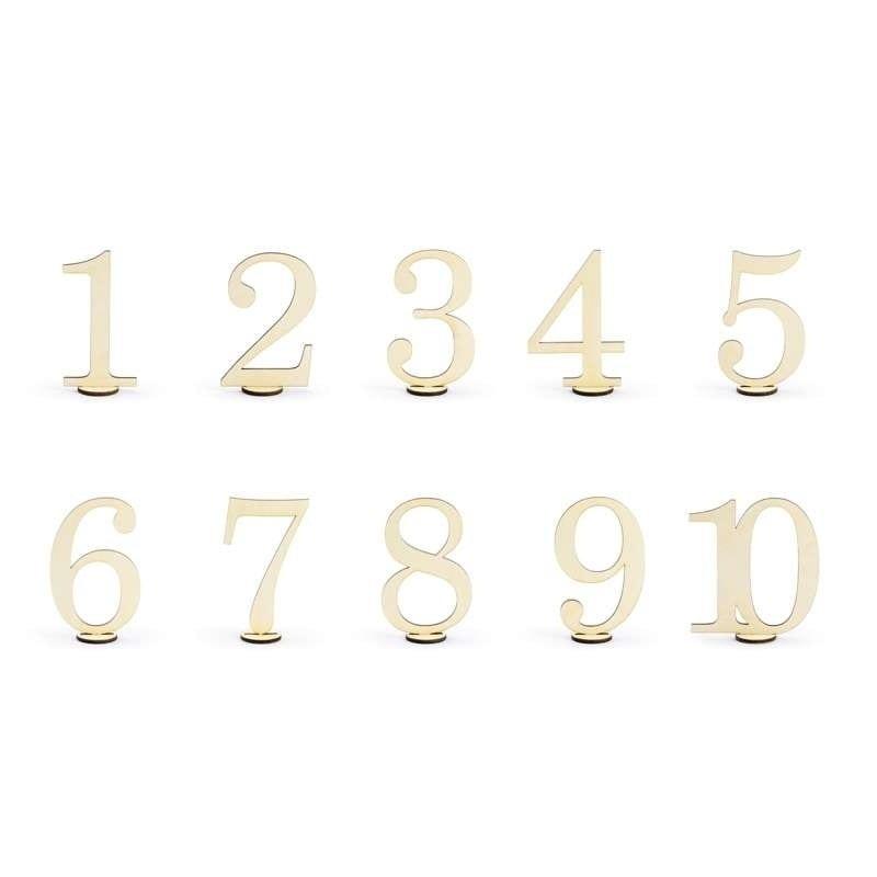 Numeri Da Tavolo In Legno Da 1 A 10 10,5 Cm Conf. 10 Pz Kpz3-100