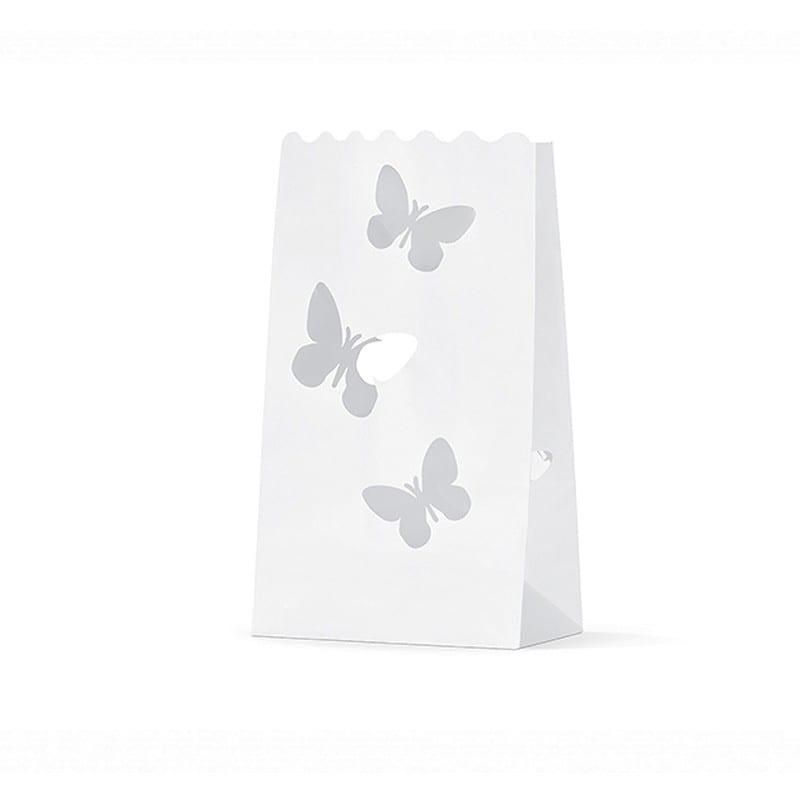 Sacchetti Lanterne Porta Candele Carta Farfalle Lampt5 10 Pz
