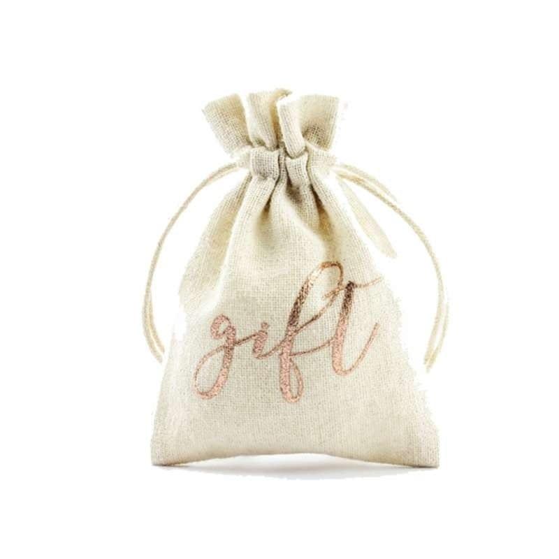 """Sacchetti Porta Confetti In Juta Con Scritta """"gift"""" In Rose Gold 7.5 X 10 Cm 10 Pz – Wrb1-019r"""