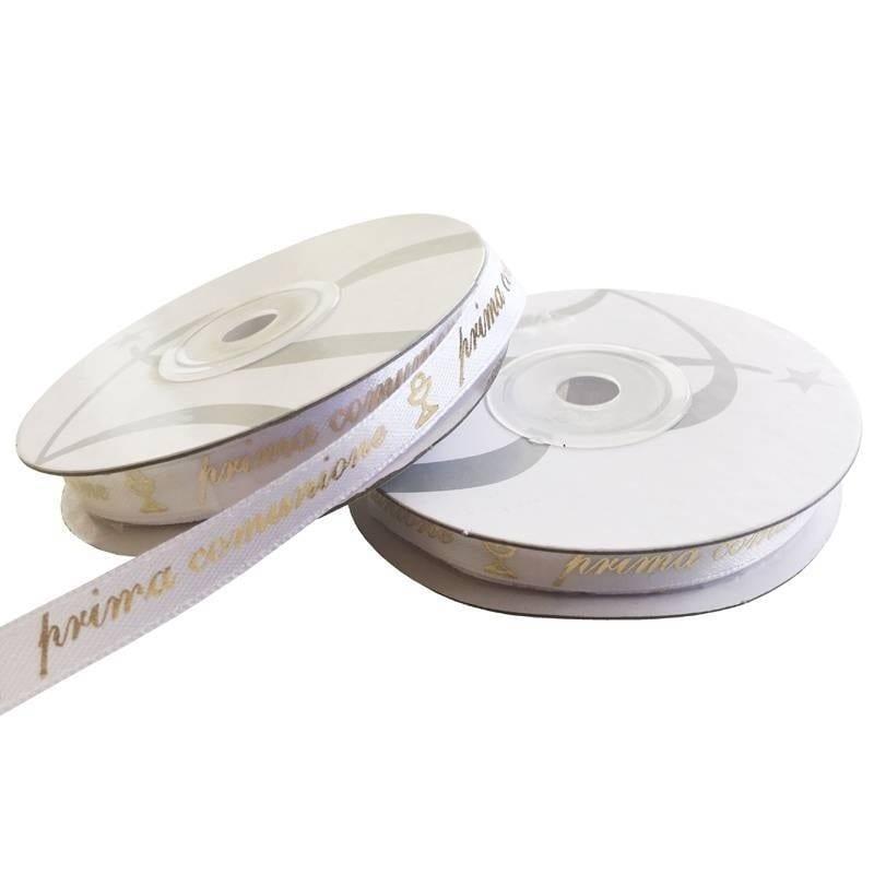 Rotolo Nastro Bianco Prima Comunione Scritta Oro Ni20 Mm10 X 25 Mt 1 Pz
