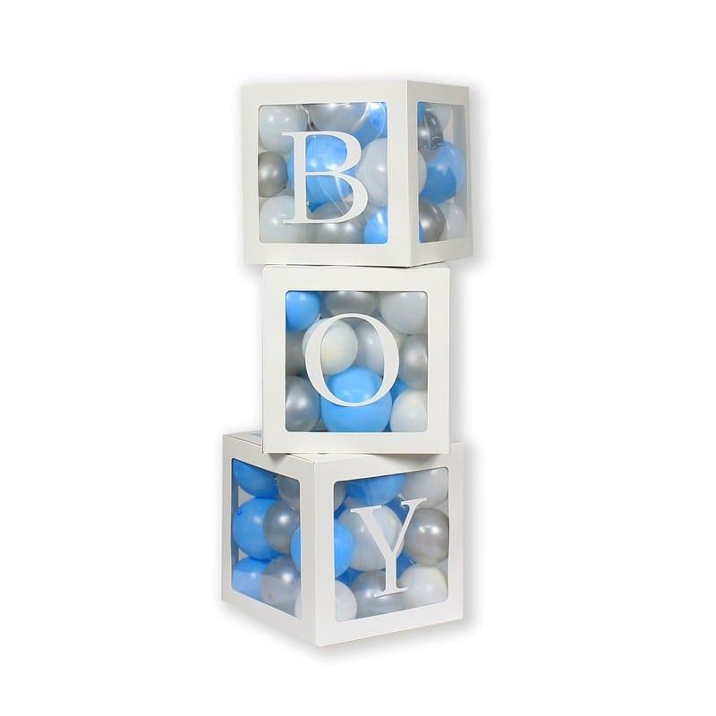 """Set 3 Scatole Box Porta Palloncini A Forma Di Cubo + Lettere Adesive """"boy"""" GA-ZPBY"""